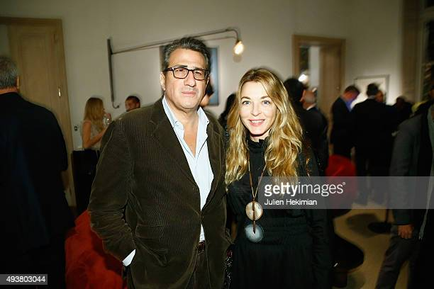 Arabelle ReilleMahdavi and a guest attend a Private Dinner as part of the 'Carte Blanche to Luhring Augustine' Exhibition at Galerie Patrick Seguin...