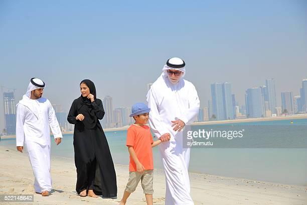 Arabian family walking in parbeach