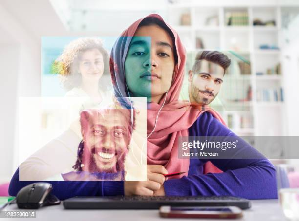arabian female student having video call lecture - live ereignis stock-fotos und bilder