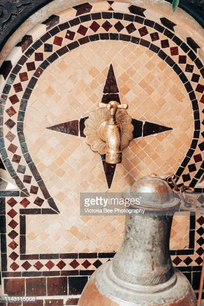 arabian style moroccan decorations - courtyard stock photos and pictures
