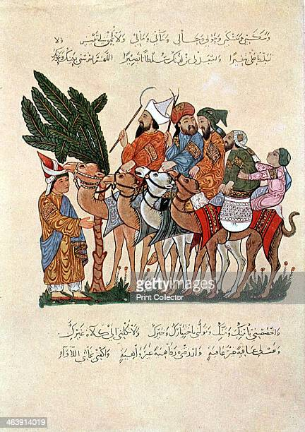 Arabian travellers on camels being greeted at the end of their journey After a 13th century Arab manuscript