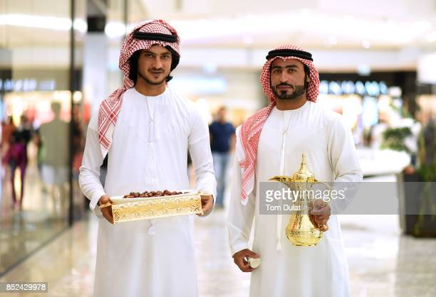 Arabic coffee and dates are being served to the shoppers at City Centre Mirdif to celebrate KSA National Day on September 23 2017 in Dubai United...