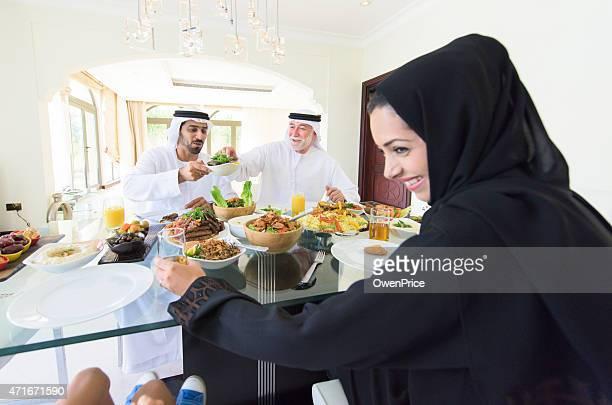 Arabic family enjoying lunch together