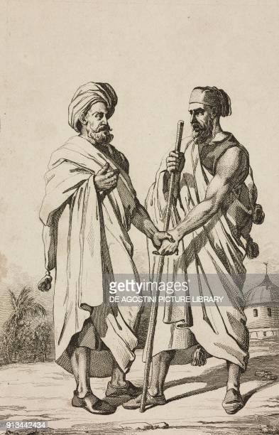 Arabic greeting engraving by Lemaitre and Lebas from Arabie by Noel Desvergers avec une carte de l'Arabie et note by Jomard L'Univers pittoresque...