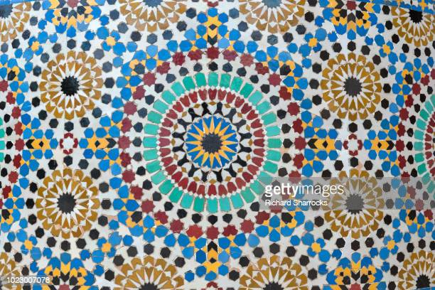 arabic islamic geometric tile pattern - rabat morocco stock pictures, royalty-free photos & images