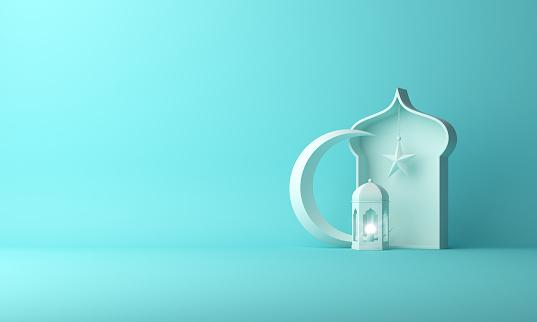 Arabic lantern, crescent star, window on blue pastel background copy space text. 1142726600