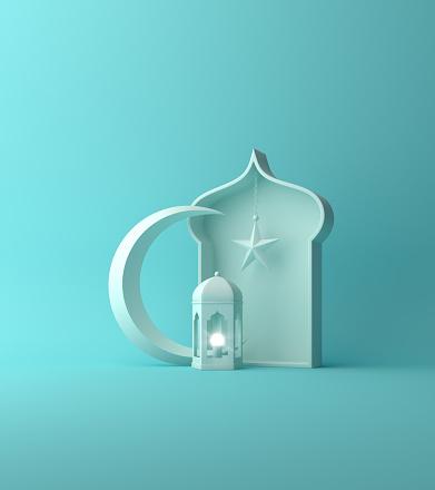 Arabic lantern, crescent star, window on blue pastel. 1142725135