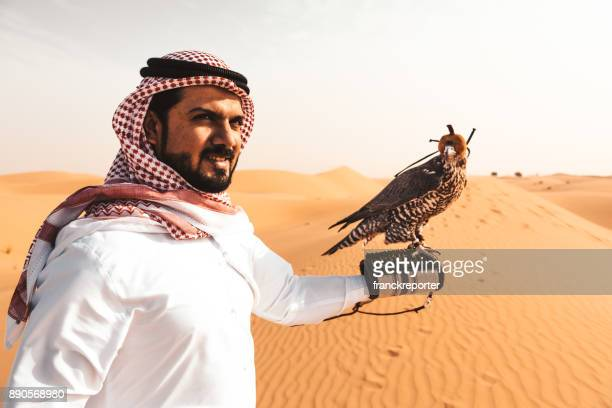 arabic man in the desert with a falcon - gulf countries stock pictures, royalty-free photos & images