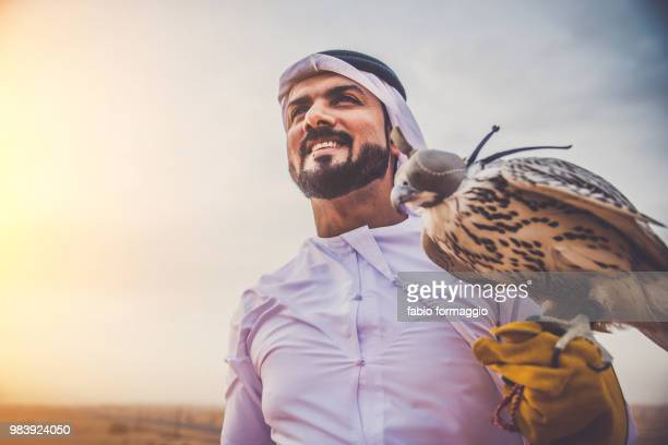 arabic man in the desert with his hawk - turtle doves stock photos and pictures