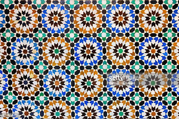 Arabic mosaic inside medina of Fes in Morocco