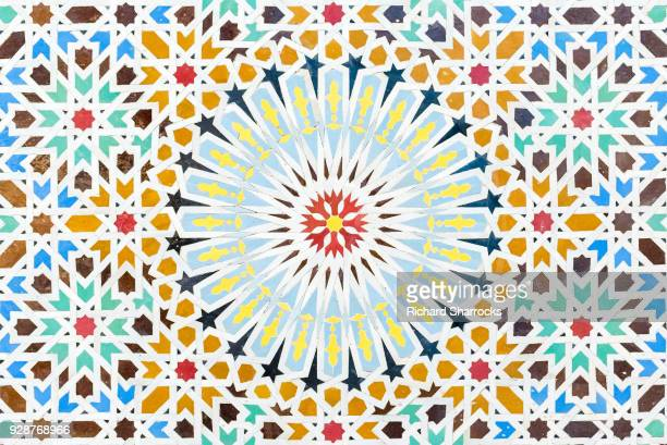 arabic multi colored mosaic with geometric pattern - mosaic stock photos and pictures