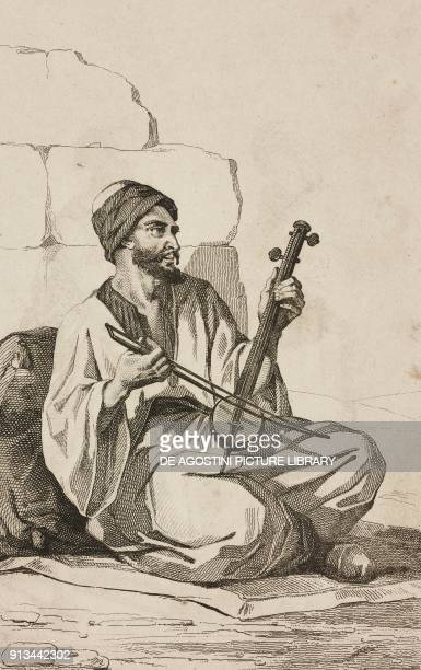 Arabic playing the violin engraving by Lemaitre and Branche from Arabie by Noel Desvergers avec une carte de l'Arabie et note by Jomard L'Univers...