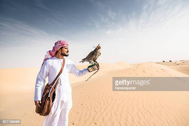 arabic sheik on the desert holding a falcon - hawk bird stock photos and pictures