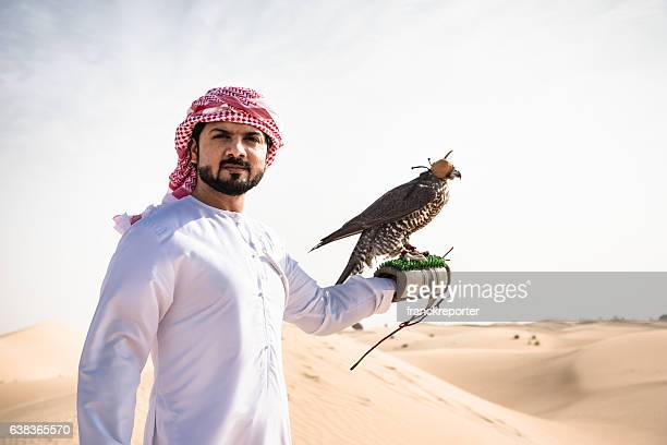 arabic sheik on the desert holding a falcon
