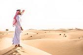 arabic sheik on the desert look forward