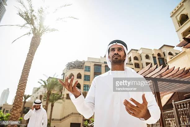 arabic sheik portrait standing on the city