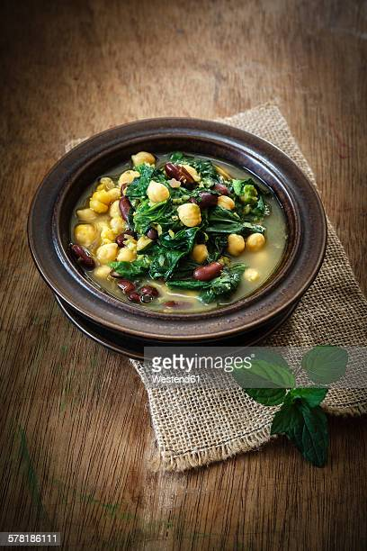 Arabic spinach soup with chick peas, kidney beans and red lentils