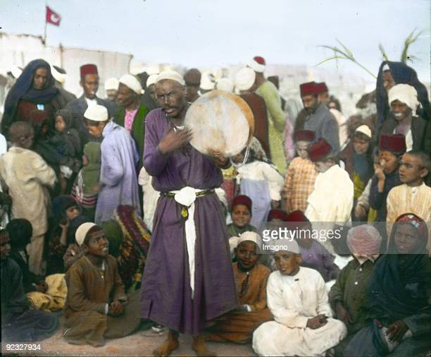 Arabic storyteller Egypt Handcolored lantern slide Around 1910