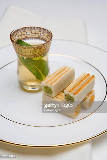 Arabic Sweets with Mint Tea . Dubai, United Arab Emirates