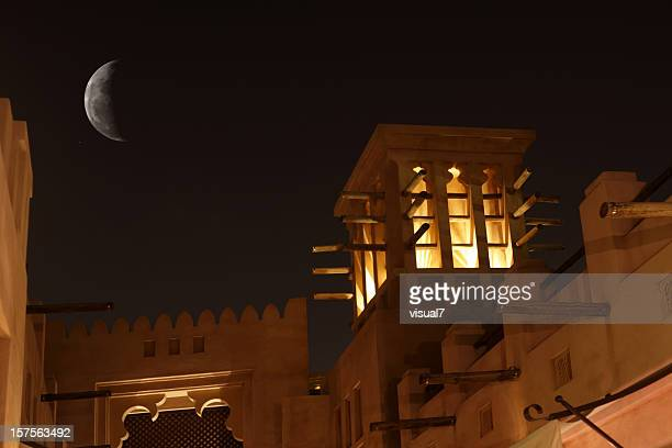 arabic wind tower in the night - the past stock pictures, royalty-free photos & images
