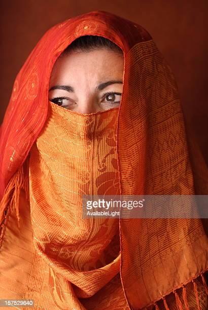 Arabic Woman in Orange Hajib