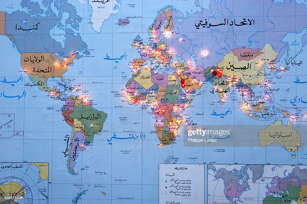 arabic world map with muslim networks lighted stock photo