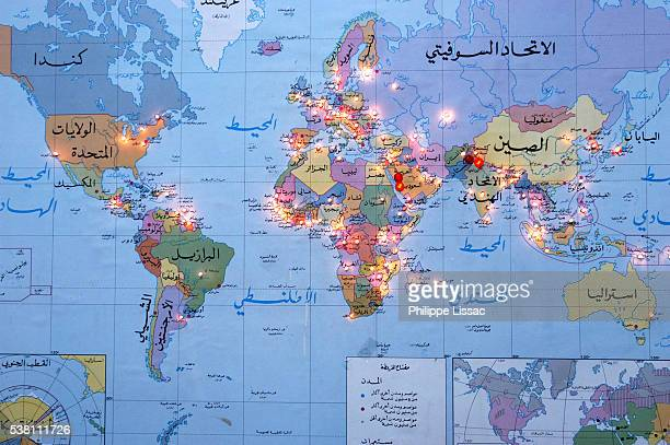 Arabic World Map with Muslim Networks Lighted