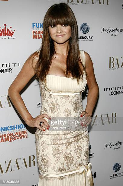 Araceli Gonzalez during Miami Fashion Week 2006 Harpers Bazaar en Espanol Collection Arrivals at Knight Concert Hall in Miami Florida United States
