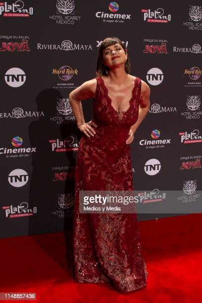 Araceli Gonzalez poses for photos during the red carpet of the Premios Platino 2019 on May 12 2019 in Playa del Carmen Mexico