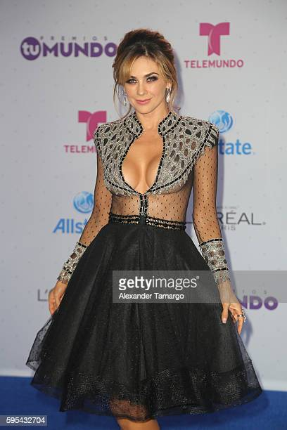 Aracely Arambula arrives at Telemundo's Premios Tu Mundo Your World Awards at American Airlines Arena on August 25 2016 in Miami Florida