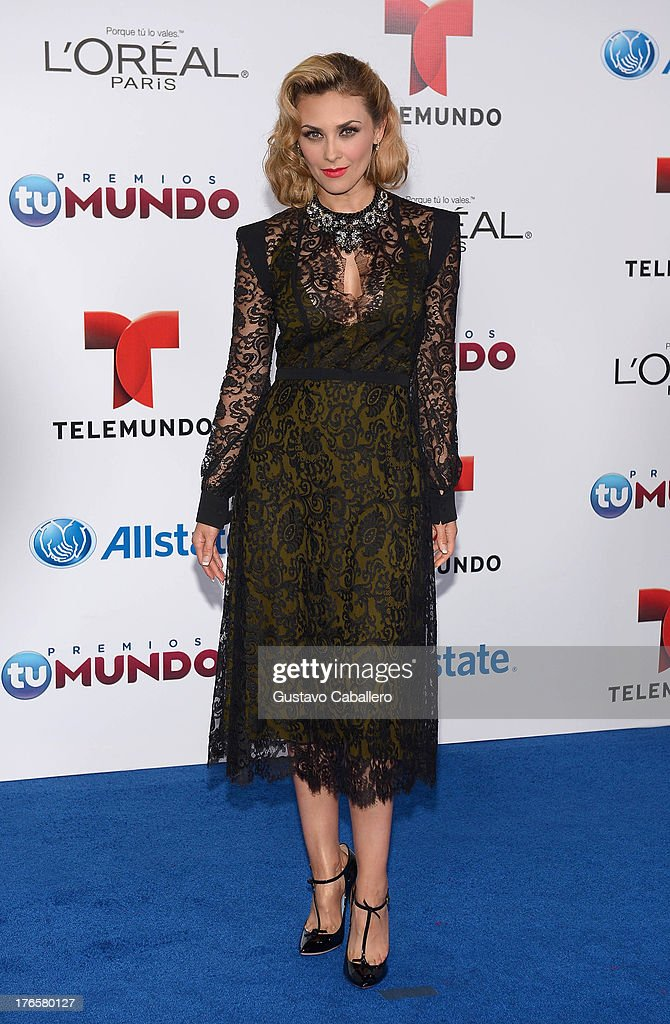 Aracely Arambula arrives for Telemundo's Premios Tu Mundo Awards at American Airlines Arena on August 15, 2013 in Miami, Florida.