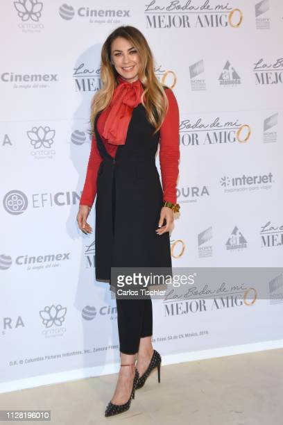 Aracely Arámbula poses for photos during the 'La Boda de Mi Mejor Amigo' red carpet at Cinemex Antara Polanco on February 7 2019 in Mexico City Mexico