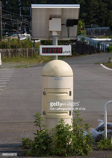 Aradiation dosimeter placed in a highly contaminated area after the daiichi nuclear power plant irradiation fukushima prefecture tomioka Japan on May...