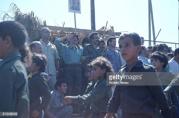 Arafat Reviews Young Militia Members October 9 1983 At The End Of Their Training In Tripoli Lebanon The Plo Palestine Liberation Organization Trains...