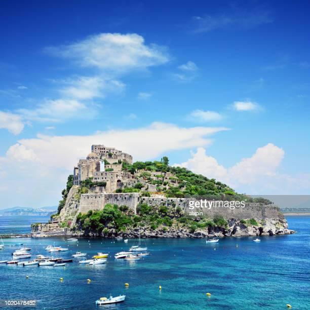 aragonese castle on ischia island, italy - isola foto e immagini stock
