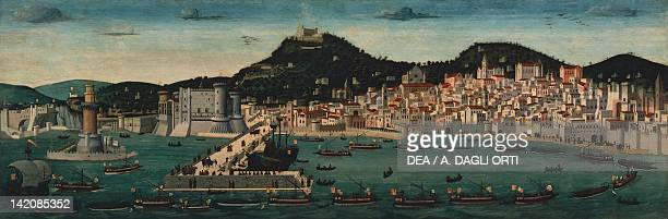 Aragonese fleet returning to Naples victorious after the Battle of Ischia 12 July 1465 from Tavola Strozzi ca 1472 attributed to Francesco Rosselli...
