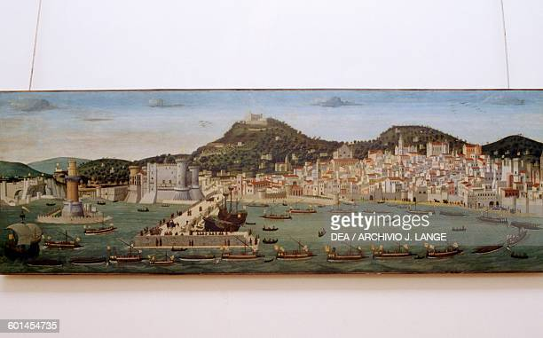 Aragonese fleet returning victorious into Naples port after the Battle of Ischia July 12 Tavola Strozzi ca 1472 attributed to Francesco Rosselli oil...