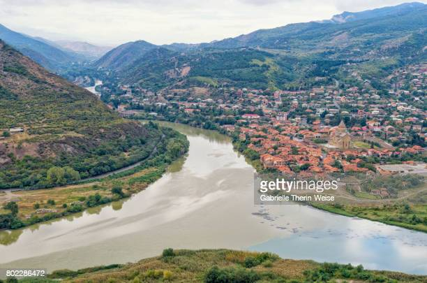 Aragvi River and Mtskheta Holy Cross Church