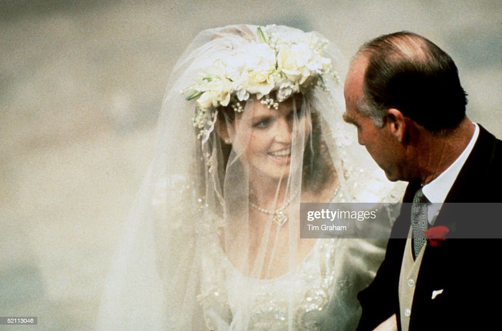 Arah Ferguson With Her Father, Major Ronald Ferguson, At Westminster Abbey On The Day Of Her Wedding To Prince Andrew.