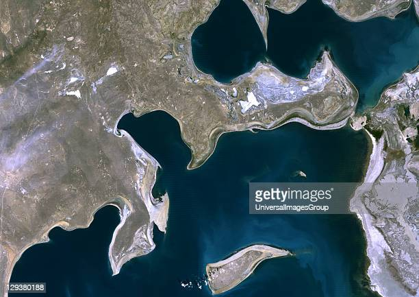 Aral Sea in 1989 it lies between Kazakhstan in the north and Uzbekistan in the south Image taken on 17 September 1989 using LANDSAT data Aral Sea...