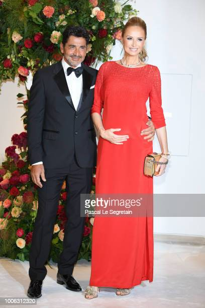 Aram Ohanian and Adriana Karembeu attend the 70th Monaco Red Cross Ball Gala on July 27 2018 in MonteCarlo Monaco