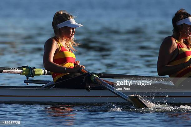 AramahoWanganui Rowing Club competes in the women's club coxed four final during the North Island Club Championships at Lake Karapiro on February 9...