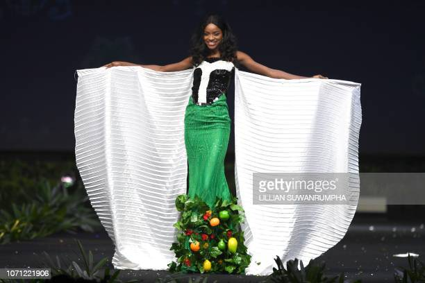 Aramide Lopez Miss	Nigeria 2018 poses on stage during the 2018 Miss Universe national costume presentation in Chonburi province on December 10 2018