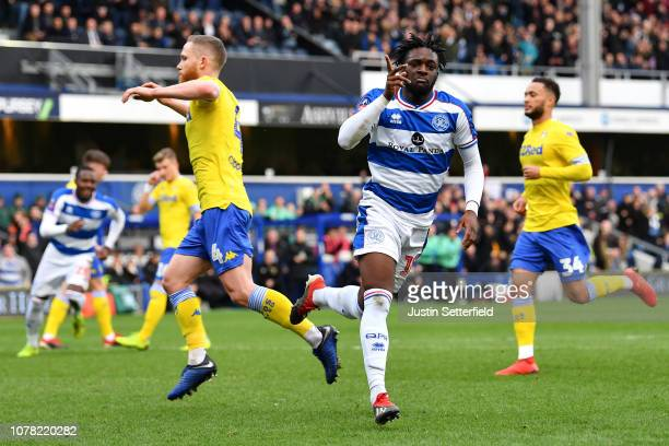 Aramide Oteh of Queens Park Rangers celebrates scoring the first QPR goal during the FA Cup Third Round match between Queens Park Rangers and Leeds...