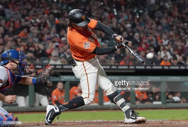 Aramis Garcia of the San Francisco Giants in his major league debut hits and rbi single scoring Hunter Pence against the New York Mets in the bottom...