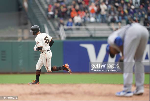 Aramis Garcia of the San Francisco Giants trots around the bases after hitting a tworun home run off of Edwin Jackson of the Toronto Blue Jays in the...
