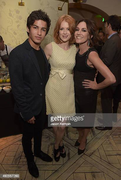 Aramis Knight Emily Beecham and Orla Brady attend the after party for the screening of AMC's Into The Badlands at The London West Hollywood on...