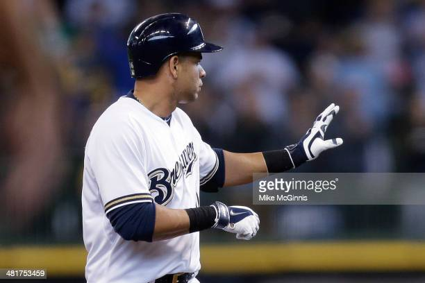 Aramis Ramirez of the Milwaukee Brewers hit a double scoring Ryan Braun and Jean Segura in the bottom of the fourth inning against the Atlanta Braves...