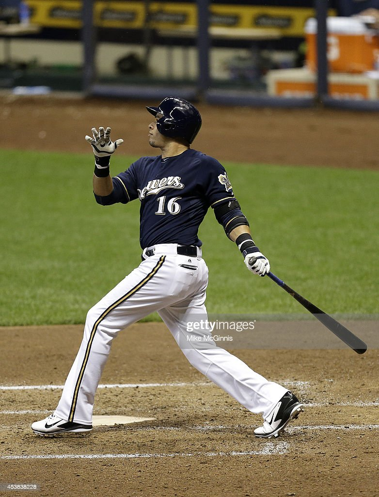Aramis Ramirez #16 of the Milwaukee Brewers hits a double in the bottom of the fifth inning against the Toronto Blue Jays during the Interleague game at Miller Park on August 19, 2014 in Milwaukee, Wisconsin.