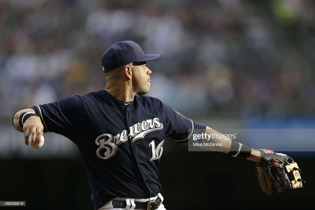 Aramis Ramirez #16 of the Milwaukee Brewers makes the throw to first base to retire during the Interleague game against the New York Mets at Miller Park on July 26, 2014 in Milwaukee, Wisconsin.